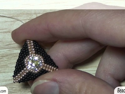 BeadsFriends: Peyote Stitch triangle - Peyote stitch post earrings with Swarovski crystal (1028)