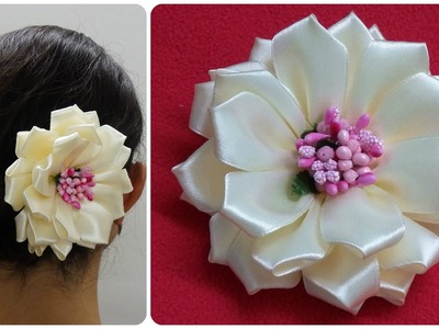 Diy kanzashi flower,wedding hair accessoire,Easy kanzashi flower tutorial