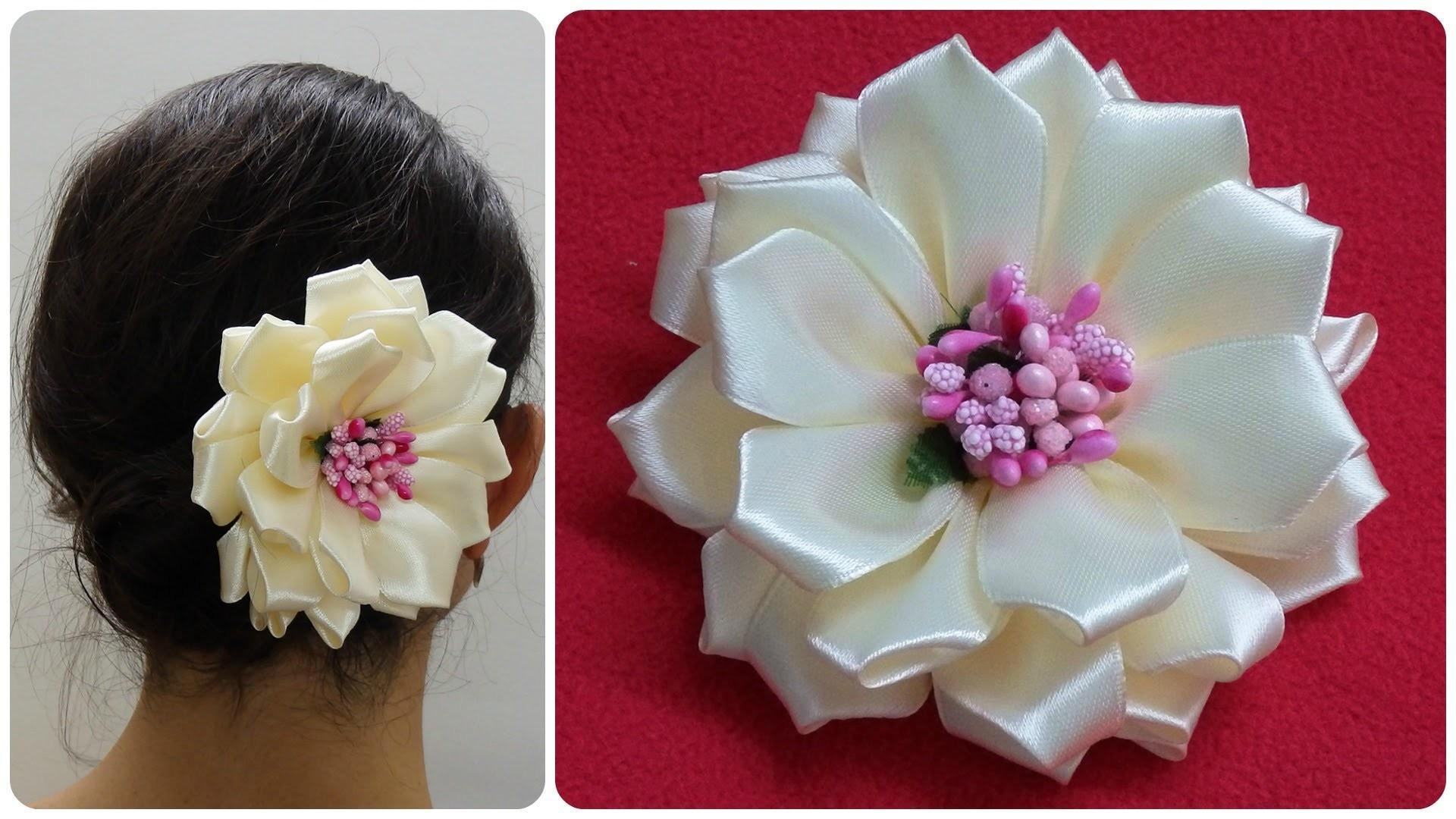 Diy kanzashi flower,wedding hair accessoire,Easy kanzashi flower tutorial