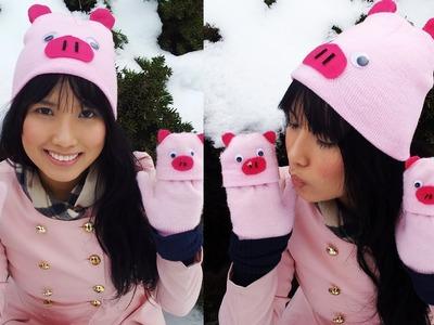 DIY Matching Animal Hat & Gloves Under $5 (Pig)