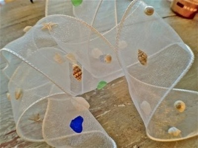 DIY Seashell covered ribbon and Gift Wrap tutorial