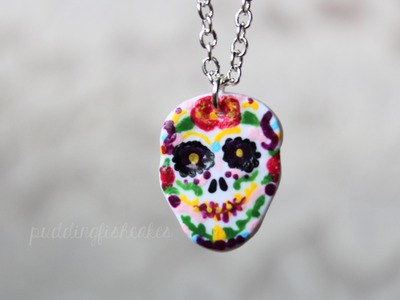 DIY: Sugar Skull Necklace Polymer Clay Halloween.Day of the Dead Tutorial