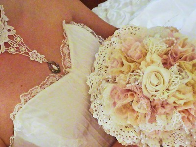 DIY Wedding Brooch Bridal Bouquet using laces, Choker and Headpiece