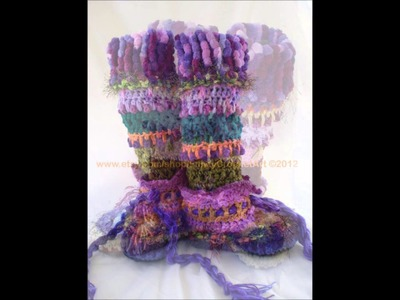 FunkyCrochetArt on Etsy Slipper Boot Collection 2012
