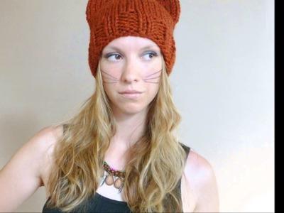 Hand Knit Cat Beanies by Bo Peep's Bonnets