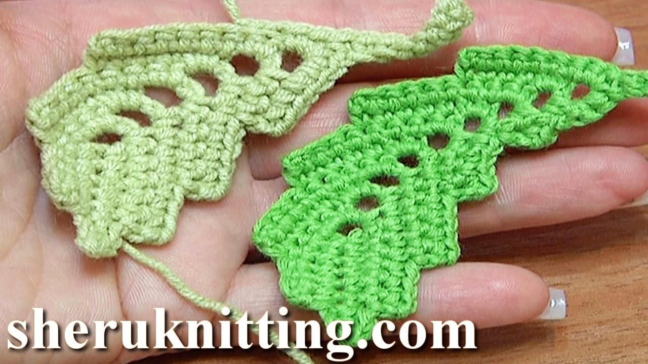 How To Crochet Curved Two-Side Leaf Chain Spaces Inside Tutorial 2