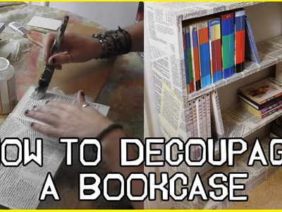 How To DECOUPAGE a BOOKCASE w. Novel Pages - w. Stephen Quick