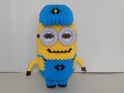 How to make 3d origami 2-eye Minion part1