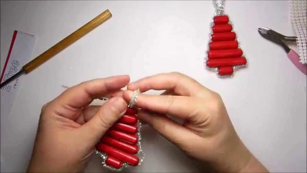 How to Make a Sparkly Paper Bead Christmas Tree Ornament