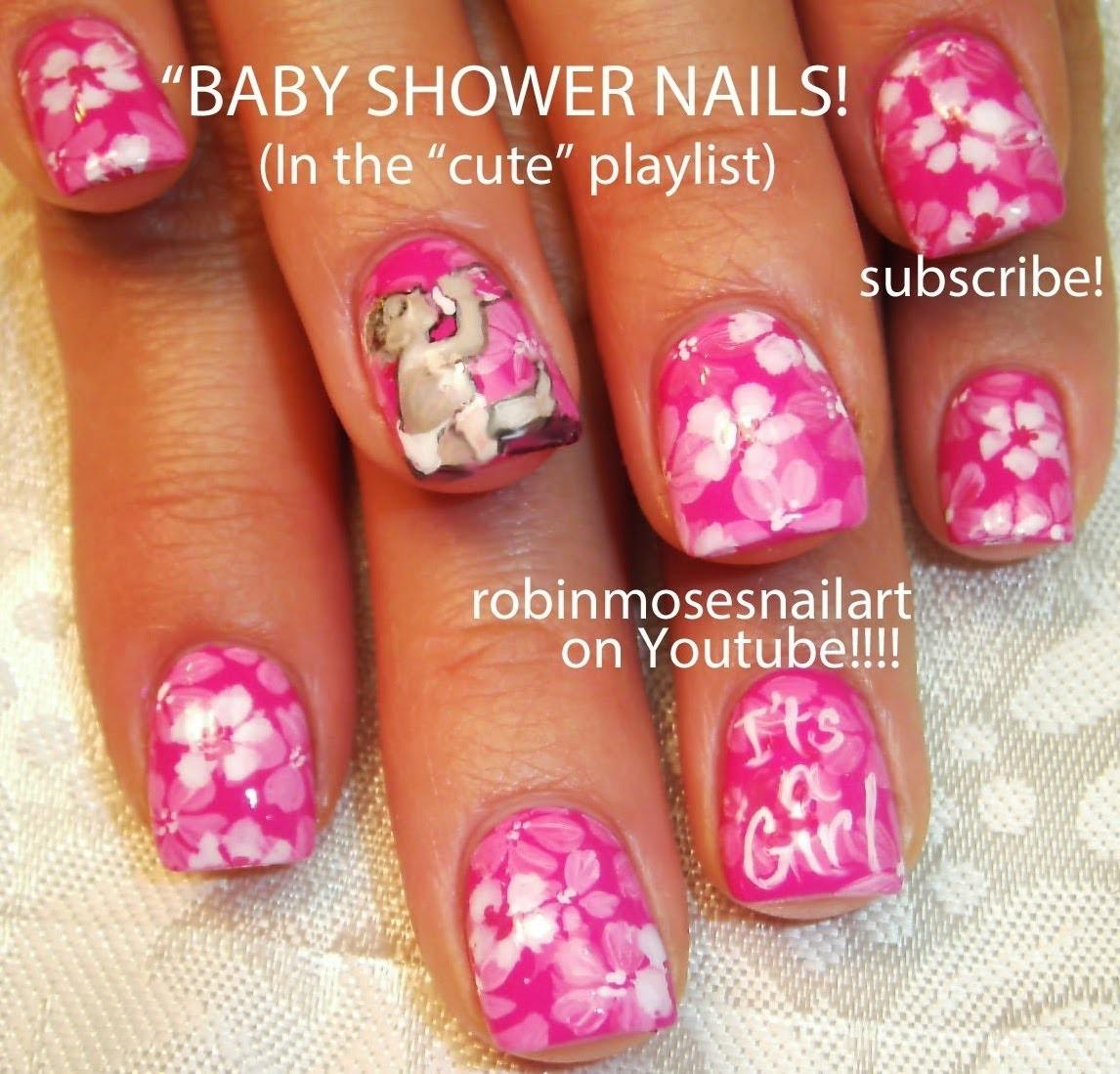 Nail Art Tutorial | DIY Baby Shower Nails! | It's A Girl Design!