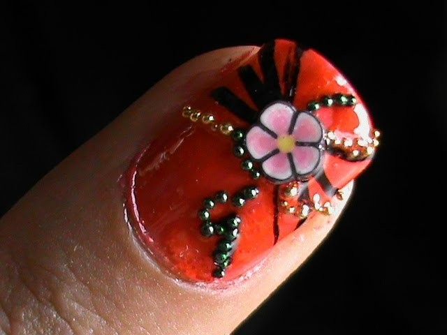 Nail art tutorial fimo flower nail art 3D nail art designs Easy DIY to do at home for beginners