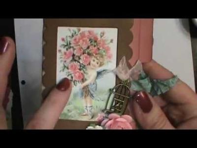 Shabby Chic mini Valentine file folder scrapbook album