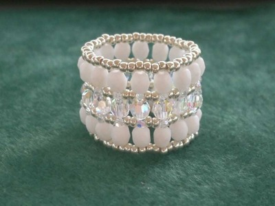 Beading4perfectionists : Swarovski -glass beads - miyuki (thumb) ring beading tutorial