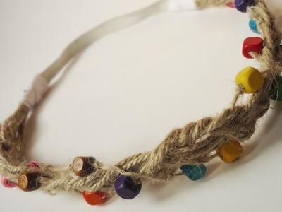 Create a Hippie Hemp Cord Beaded Hair Band - DIY Style - Guidecentral