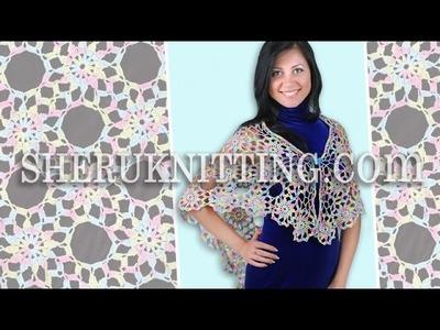 Crochet Round Motif  Shawl Model 5