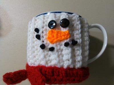 Crochet Snowman mug cover from RedHeart