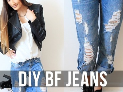 DIY: Distressed Boyfriend Jeans | LaurDIY