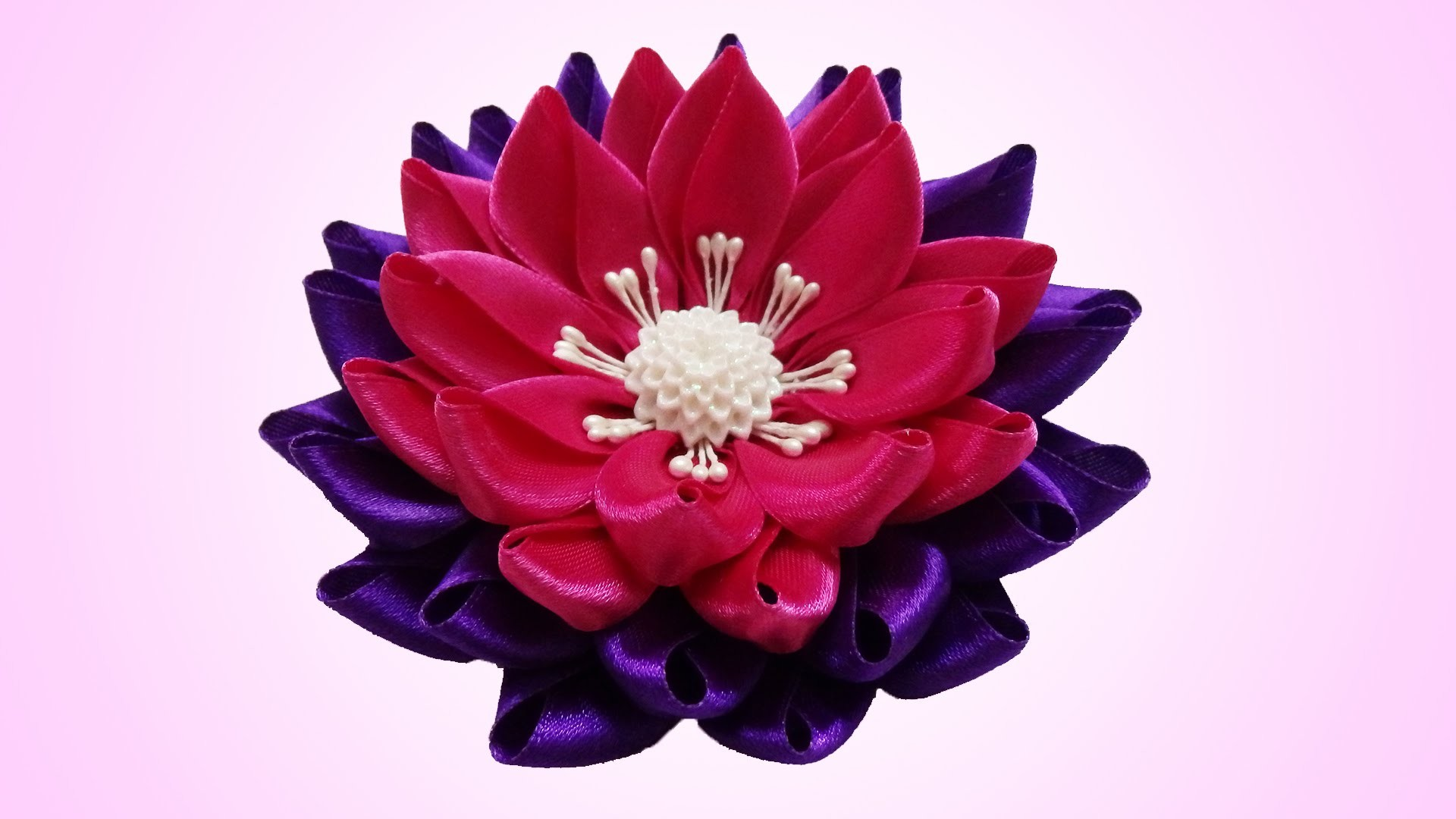DIY kanzashi flower, Water lily kanzashi flower tutorial