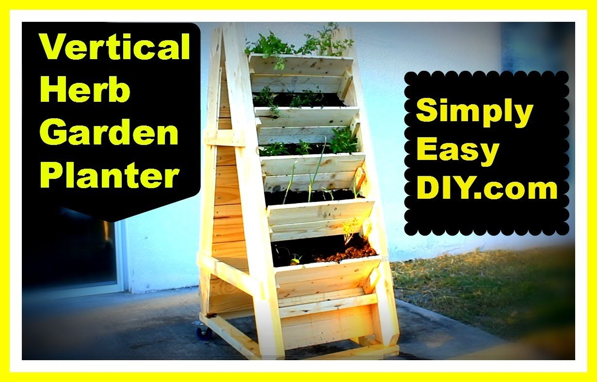 DIY Vertical Herb Garden Planter Box