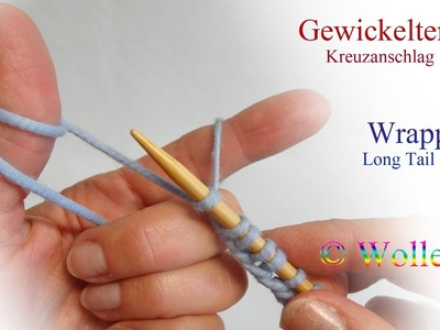 Gewickelter Kreuzanschlag - Wrapped Long Tail Cast On