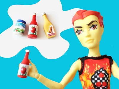Make doll condiments: Ketchup, Mustard & Mayonnaise- Doll Crafts