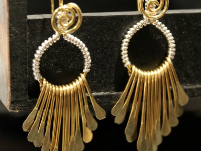 The making of silver and brass wire wrapped dangle fringe earrings