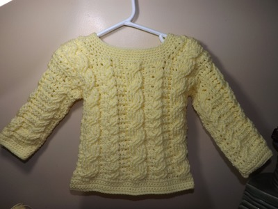 Crochet Cable Baby Sweater Part 2 of 2