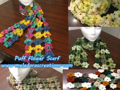 Crochet Puff Stitch Flower Scarf - Crochet Tutorial
