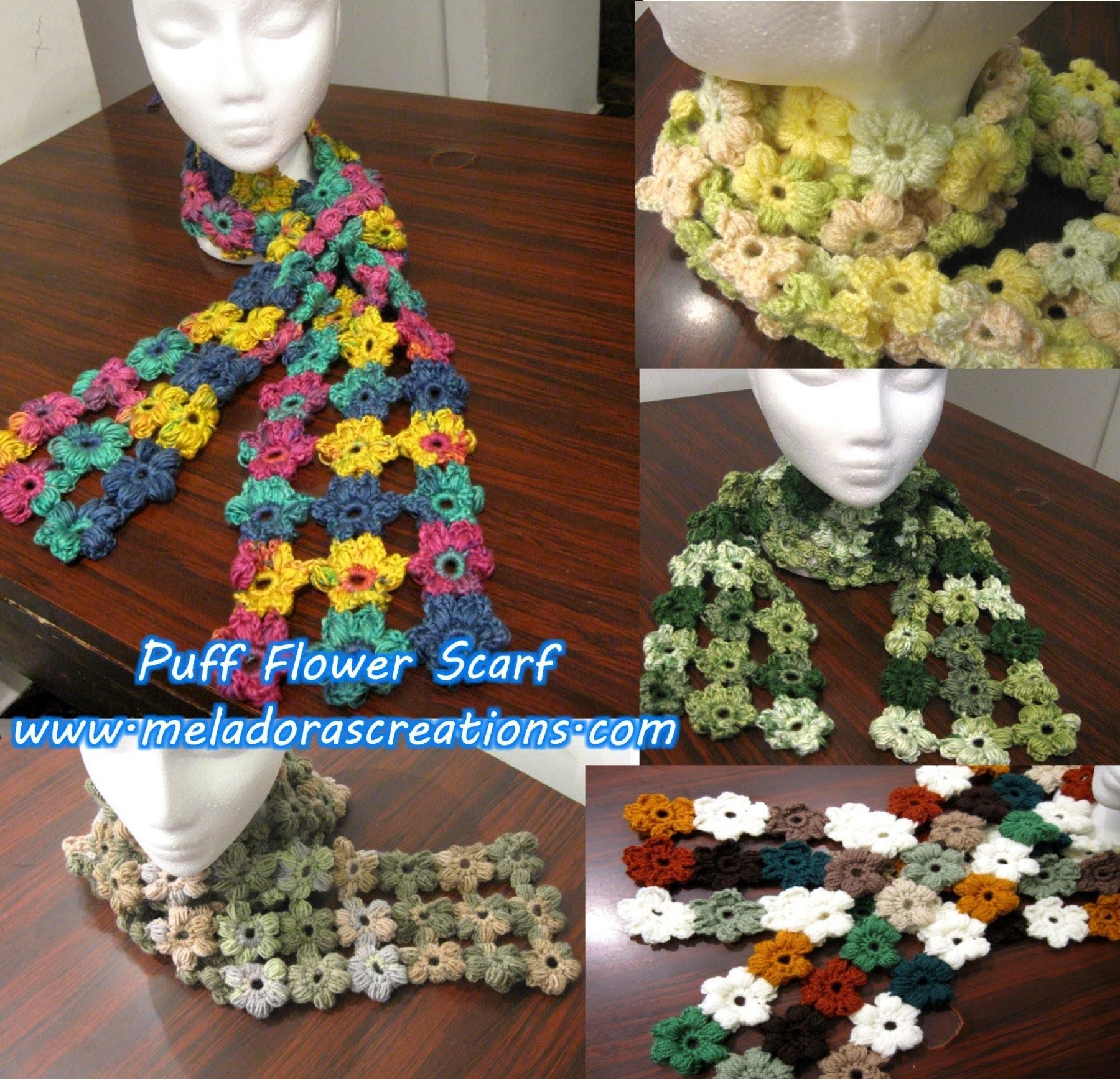 Crochet Puff Stitch Flower Scarf - Crochet Tutorial