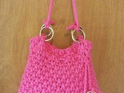 #Crochet Reverse V Stitch Handbag Purse #TUTORIAL How to Crochet a purse