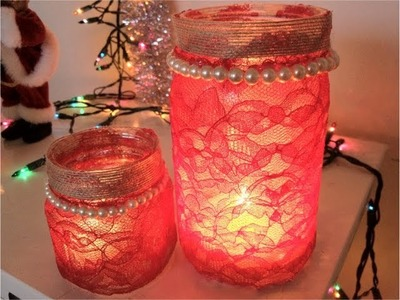 DIY Christmas Gifts: Mason Jar Candle Holder -  Lace Covered (Day 26)