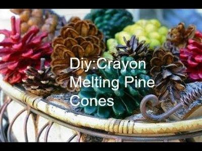 Diy:Crayon Melting Pine Cones