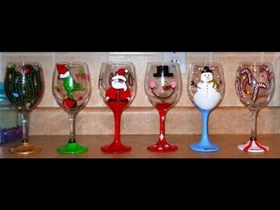 DIY: Hand Painted Wine Glasses - CHRISTMAS EDITION  ♡ Theeasydiy #Crafty