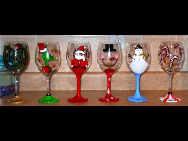 DIY: Hand Painted Wine Glasses - CHRISTMAS EDITION  ♡ Theeasydiy #Crafty