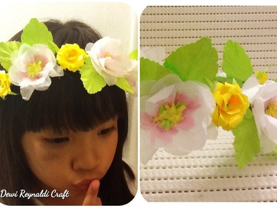 DIY - How to Make Paper Flower Crown for Hair Accessories, Wreath Room Decoration