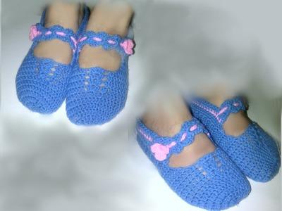 Free Mary Jane Ballerina Slipper Socks Crochet Pattern 1