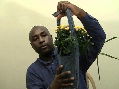 Homemade Crafts DIY: Cool Blue Jeans Plant Hanger