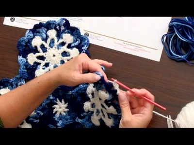 Learn to Crochet the Beautiful Dusty Snowflake Throw by Red Heart - Part 4