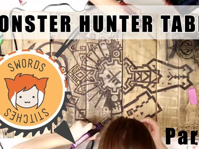 MONSTER HUNTER TABLE: Burning Designs into Wood DIY [Swords & Stitches] 3.4