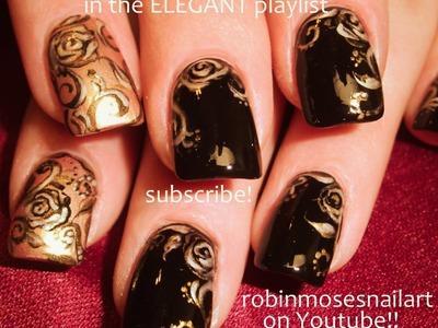 Nail Art Tutorial | DIY Rose Nail Design | Black and Gold Rose Nails