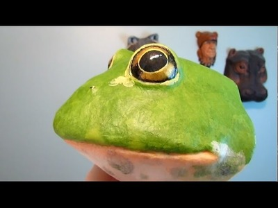 Paper Mache Frog Trophy Head with Papercraft Pattern #2