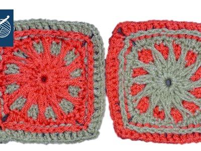Sun Beam Crochet Geek Granny Square Left Hand