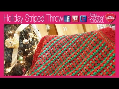 Crochet Holiday Striped Throw