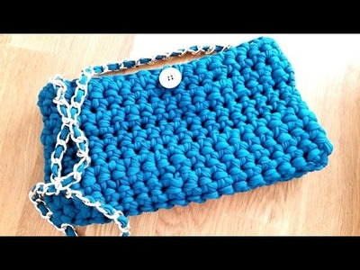 Crochet PURSE HANDBAG with t-shirt yarn (tarn, zpaghetti, trapillo, totora)