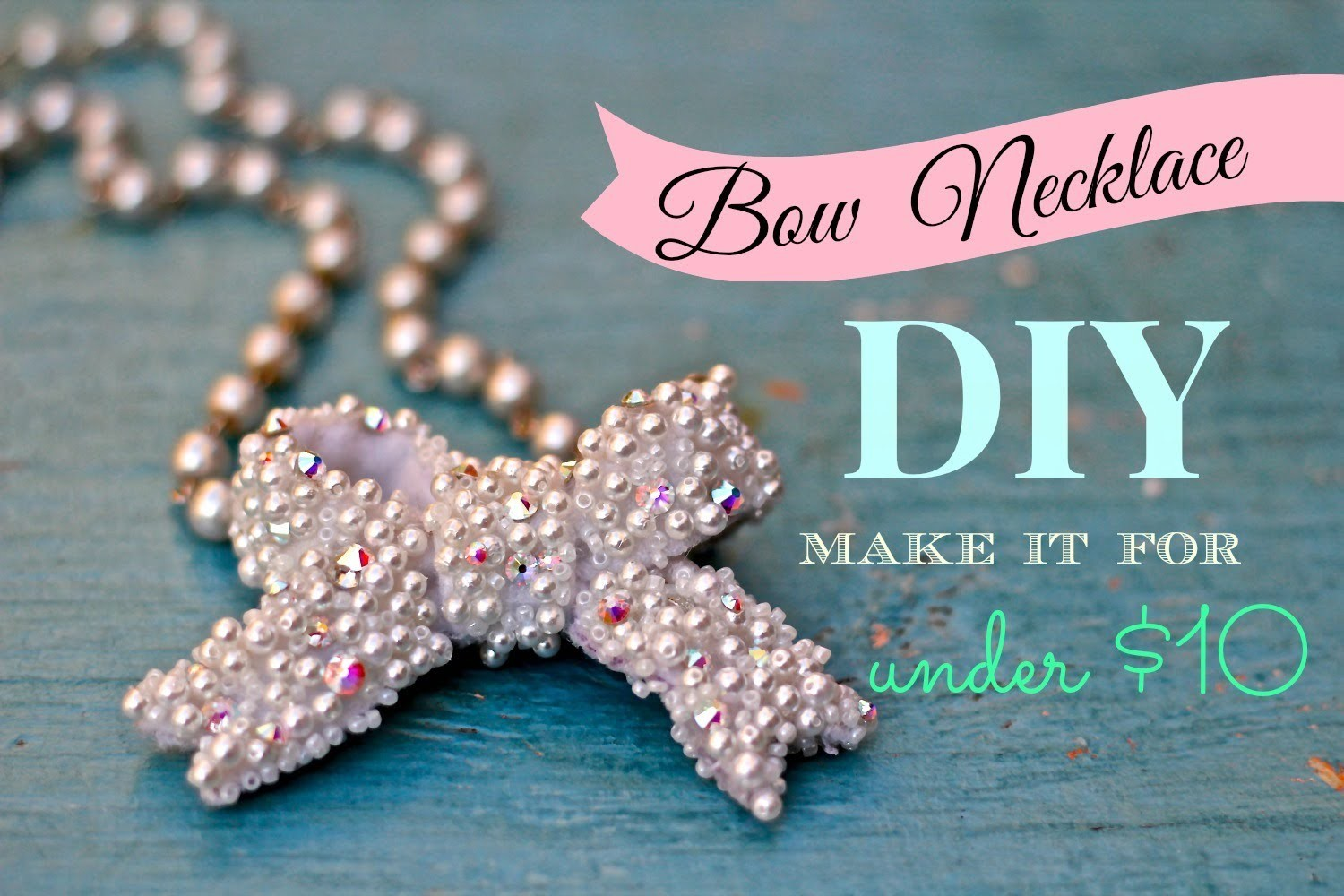 DIY bows, bow necklace made from felt, rhinestones, and pearls for under $10