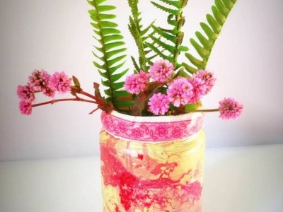 DIY  Home decor using glass bottle and nail polish easy