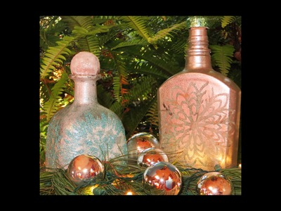 DIY Upcycle Patron Liquor Bottle Faux frosted glass & Snowflake 1