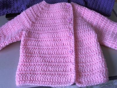 Easy Crochet Baby Sweater - Asian inspired sweater. tambien en Espanol, Suete de bebe