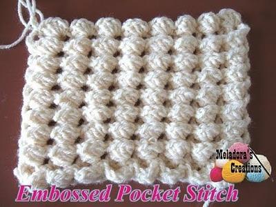 Embossed Pocket Stitch - Left handed crochet tutorial