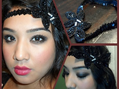 Great Gatsby.1920's Flapper Tutorial + DIY Vintage inspired headband